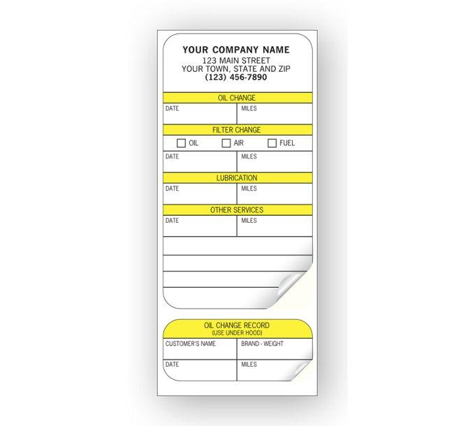 315-Automotive Service Record Labels, Padded315