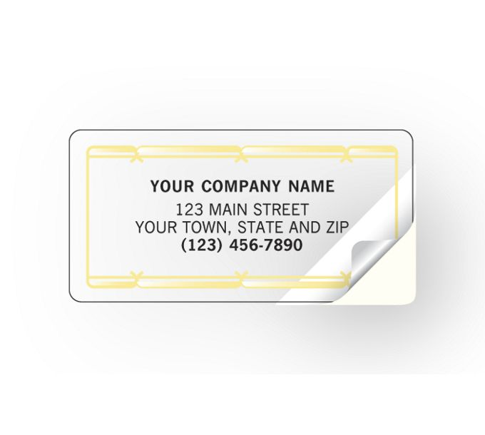 Advertising Labels with Gold Foil Border, Poly Film324