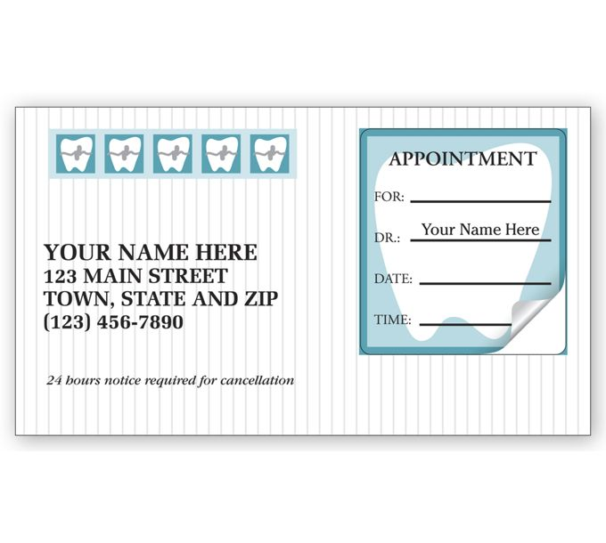 Orthodontic Dental Appointment Cards, Peel and Stick3351