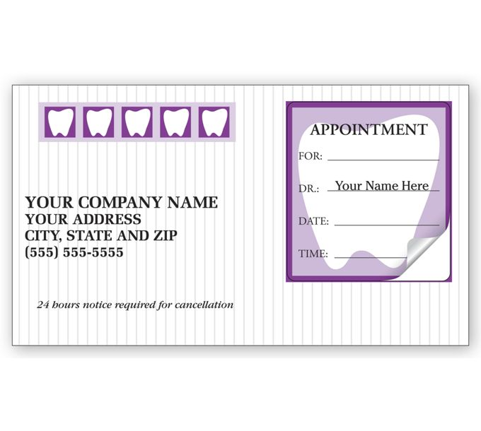 3359-Dental Appointment Cards, Peel and Stick, Tooth Design3359