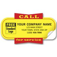 """Service Labels, """"Call for Service"""", Yellow, Padded"""