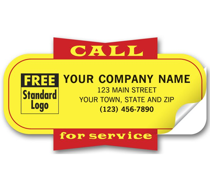 """346-Service Labels, """"Call for Service"""", Yellow, Padded346"""