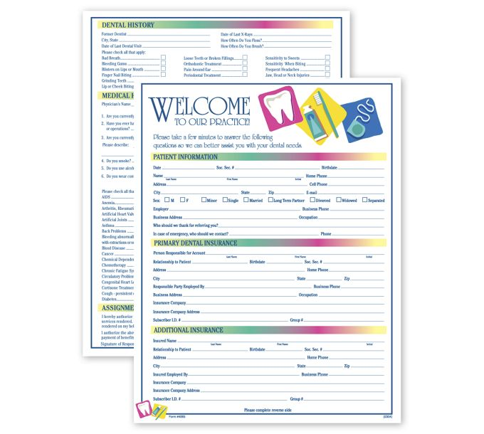 4065-Two-Sided Registration & History Form, Dental Icon Design4065