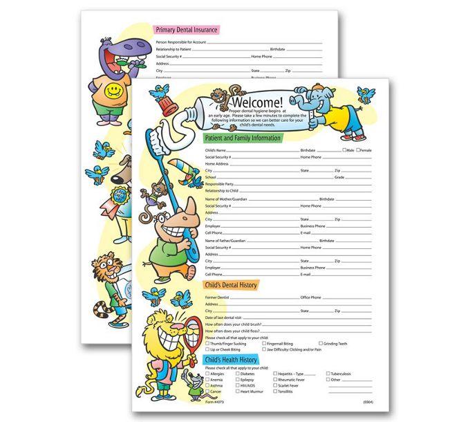 4073-Two-Sided Registration & History Form Pediatric Dental4073