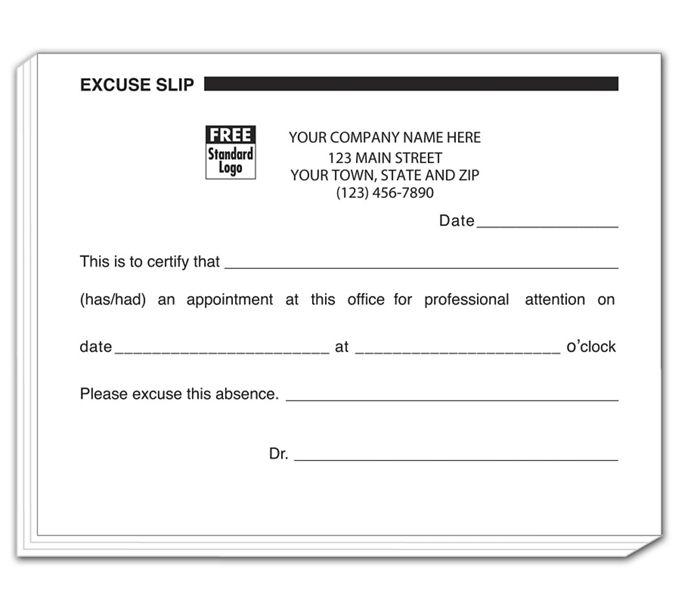 4556-Patient Excuse Slips, Imprinted4556