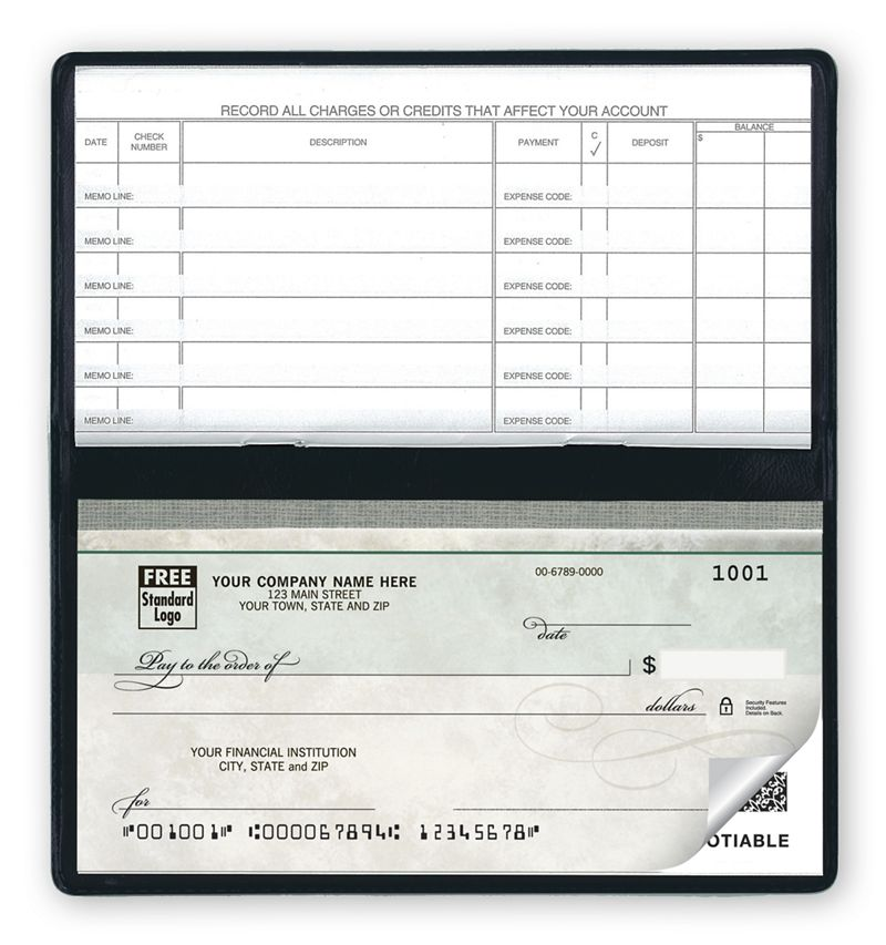 Compact Size Duplicate Checks Green Marble Design