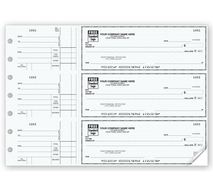 53220N-3-On-A-Page Business Size Checks, Side-Tear Voucher53220N
