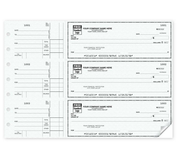 Side-Tear Voucher Business Checks w/CFP, 3-On-A-Page53220Z