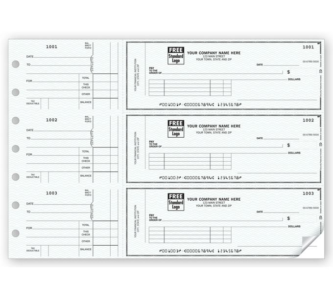 53222N-3-On-A-Page Business Size Checks, with Side-Tear Vouchers53222N
