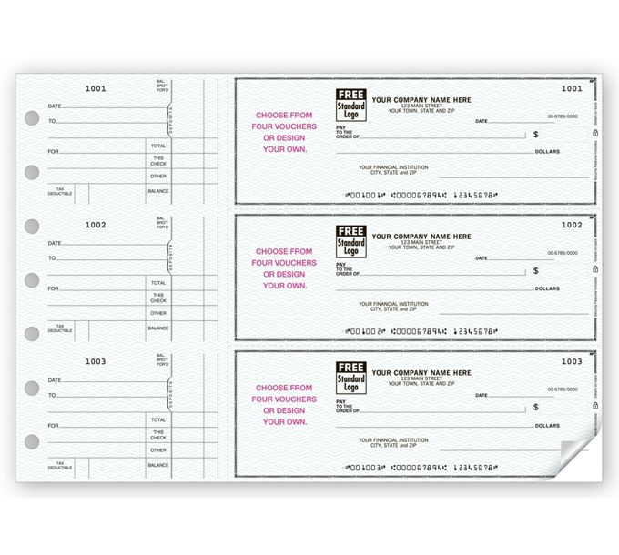 53225N-3-On-A-Page Business Size Checks, With Choice of Voucher53225N