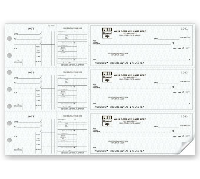 53226N-3-On-A-Page Payroll & Disbursement Check Side-Tear Vouchers53226N