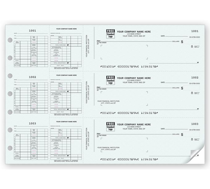 53227N-3-On-A-Page Payroll Check Works With Window Envelope53227N