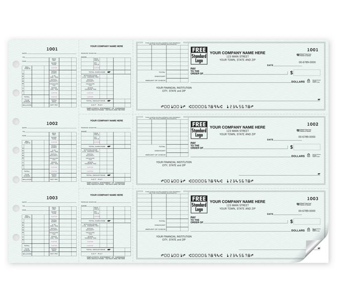 Payroll Check With Corner Voucher w/CFP, 3-On-A-Page53228Z