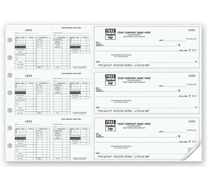 53229N-3-On-A-Page Payroll Checks, Double Side-Tear Vouchers53229N
