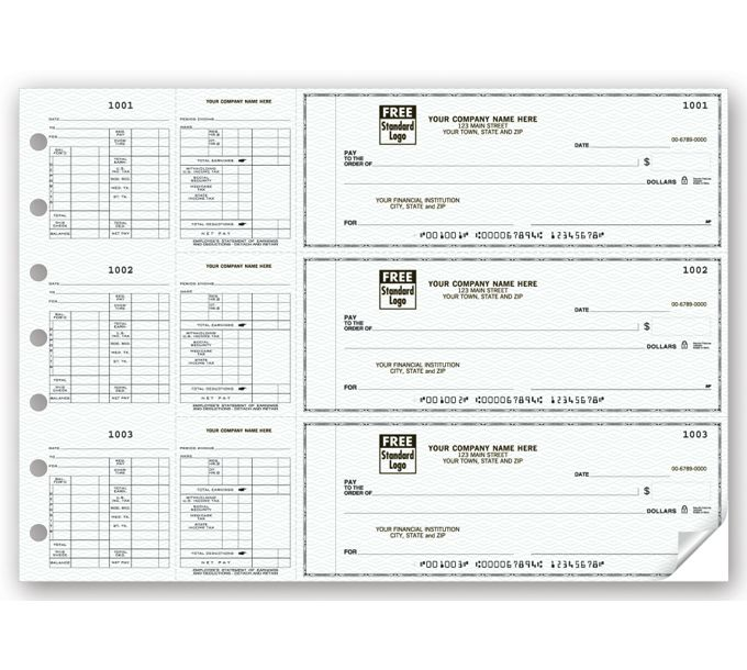 53263N-3-On-A-Page Business Size Checks for Hourly Payroll53263N