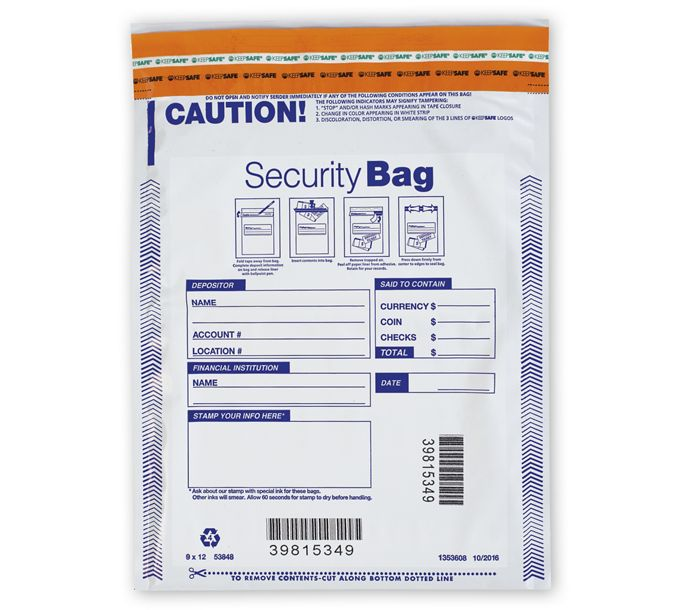 "53848-9 x 12"" Single Pocket Deposit Bag, Opaque53848"
