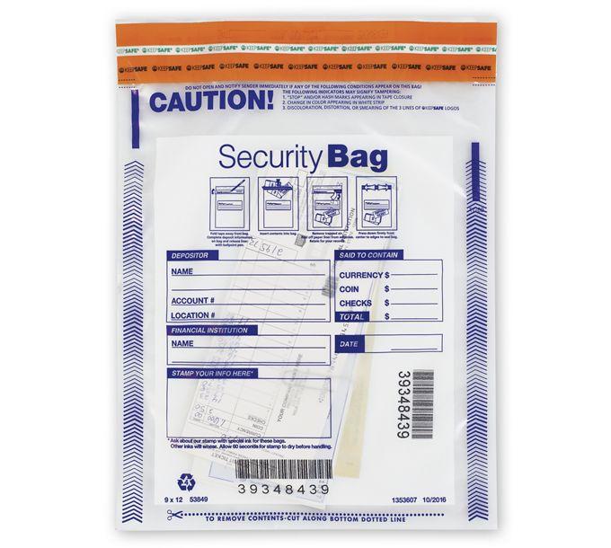 "53849-9 x 12"" Single Pocket Deposit Bag, Clear53849"
