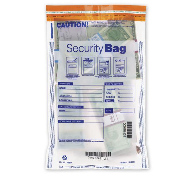 "53853-10 x 15"" Single Pocket Deposit Bag, Clear53853"