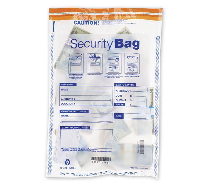 "53854-15 x 20"" Single Pocket Deposit Bag, Clear53854"