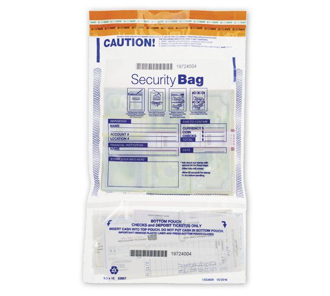 "53857-9 1/2 x 15"" Dual Pocket Deposit Bag. Clear53857"