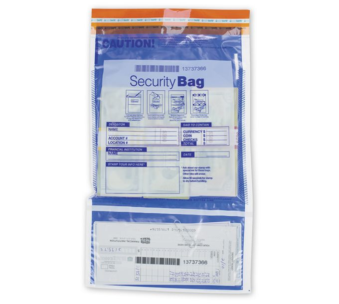 "53858-9 1/2x15"" Dual Pocket Deposit Bag, Clear Front, Opaque Back53858"