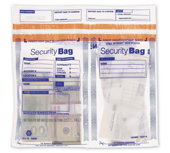 "53859-13x10.5"" Side x Side Dual Pocket Deposit Bag, Clear53859"