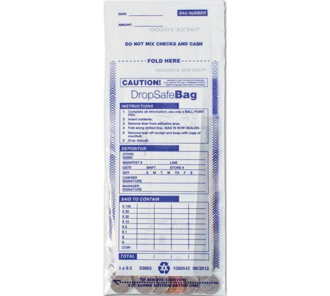"53863-5 x 9 1/2"" Drop Safe Style Deposit Bag, Clear53863"
