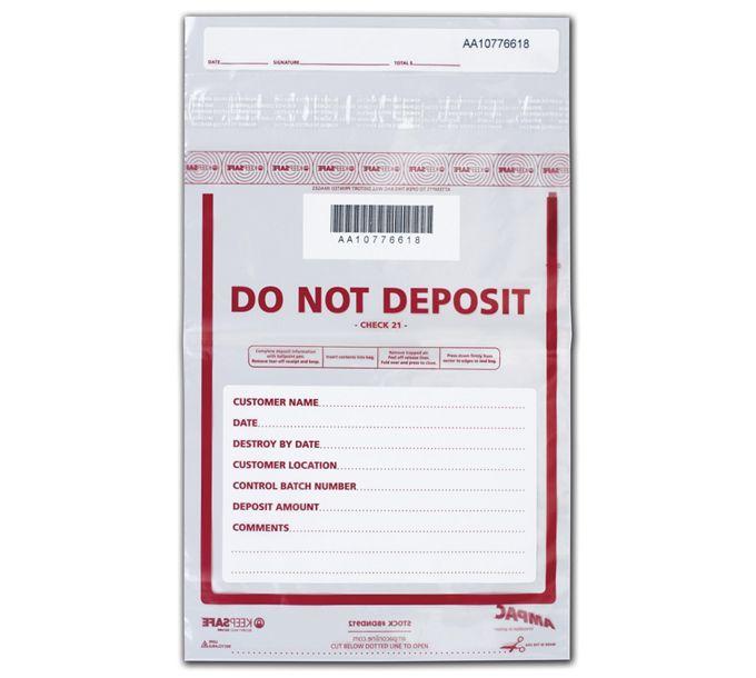 """53881-9 x 12"""" Do Not Deposit Bag, Clear53881"""