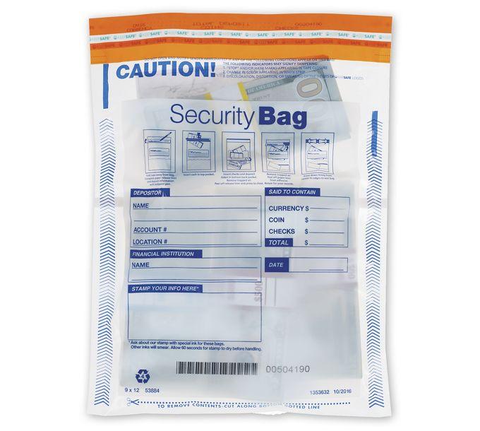 "53884-9 x 12"" Dual Pocket Deposit Bag, Clear53884"