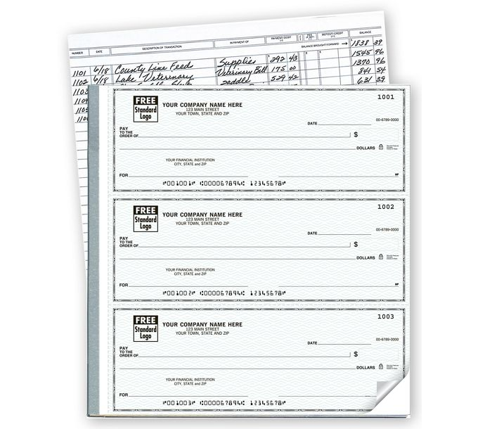 54031N-3-On-A-Page Business Size Checks with Deposit Tickets54031N