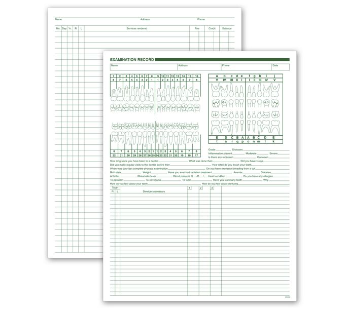 Dental Exam & Account Records, Two-Sided, White Ledger552
