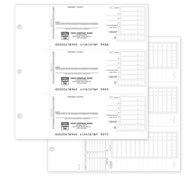 56302N-3-On-A-Page Compact Deposit Tickets for End-Stub Deskbook56302N