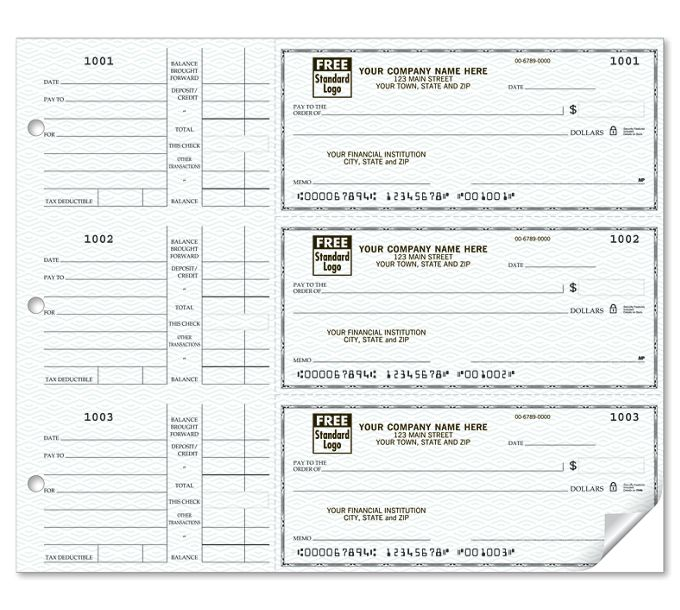 56600N-3-On-A-Page Compact Size Checks, with Side-Tear Vouchers56600N