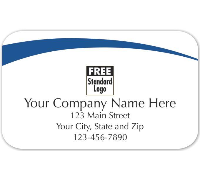 Rectangular Label on White Gloss w/Blue Arc 2.5x1.558124