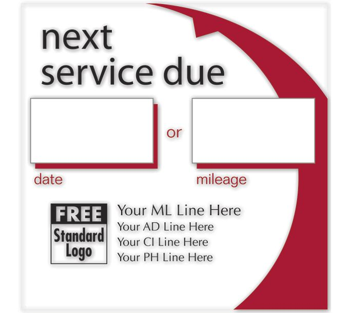 58163-Static Cling Service Label w/Red Arc 2.5x2.558163