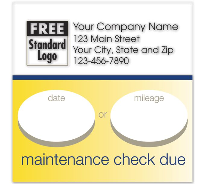 58165-Static Cling Service Label w/Gold Bottom Border 2.5x2.558165