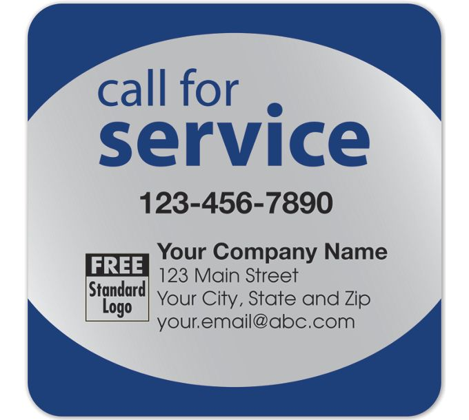 58167-Call for Service Label on Silver Poly Top & Bottom Navy Trim58167