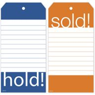 Hold & Sold Tag Set w/Blue and Orange Borders  2.375 x 4.75