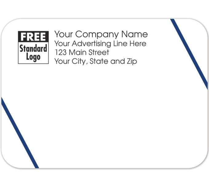Rectangular Mailing Label Double Blue Angled Lines 3.87x2.8158258