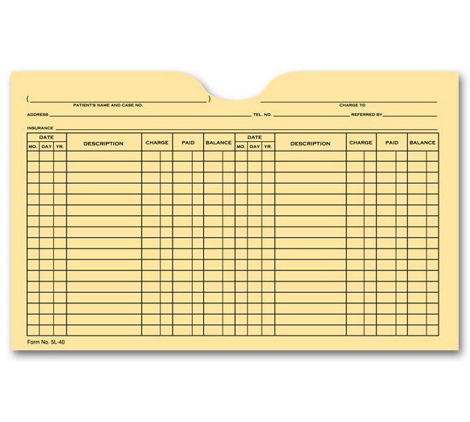 5L40-Printed Card File Pocket, Double Column, Buff5L40