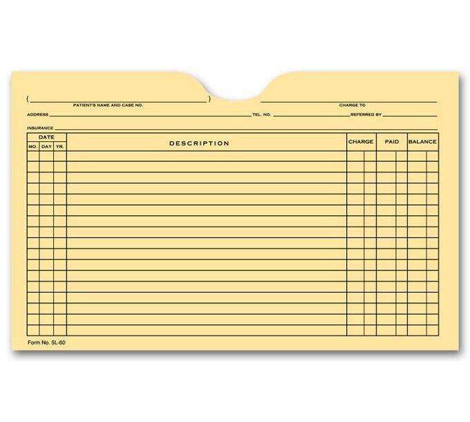 5L60-Printed Card File Pocket, Single Column, Buff5L60