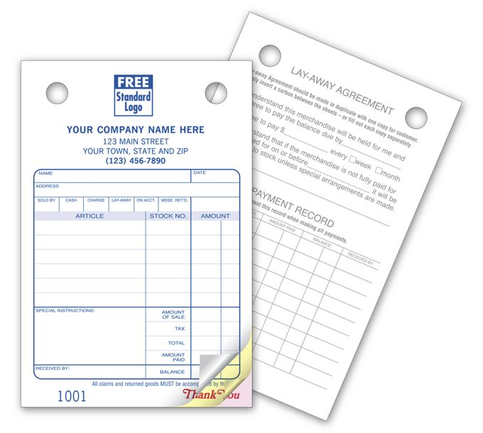 Jewelry Register Forms - Small Classic607
