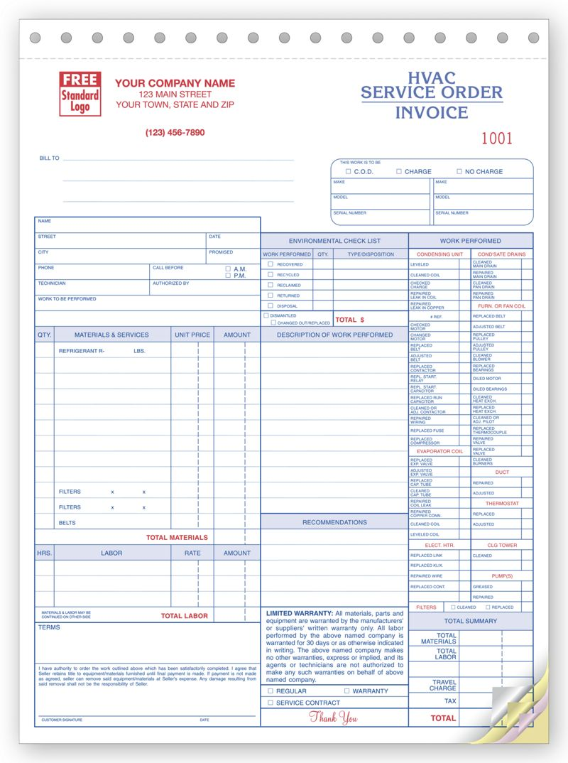 Hvac Service Orders With Checklist Custom Printed By Deluxe Deluxe Com