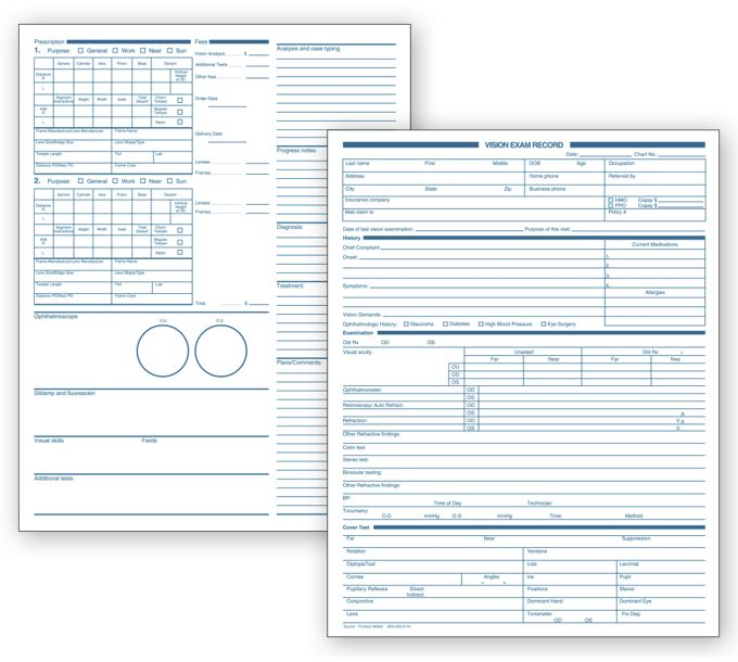 6502-Optometry Vision Exam Records, Two-Sided, White Ledger6502