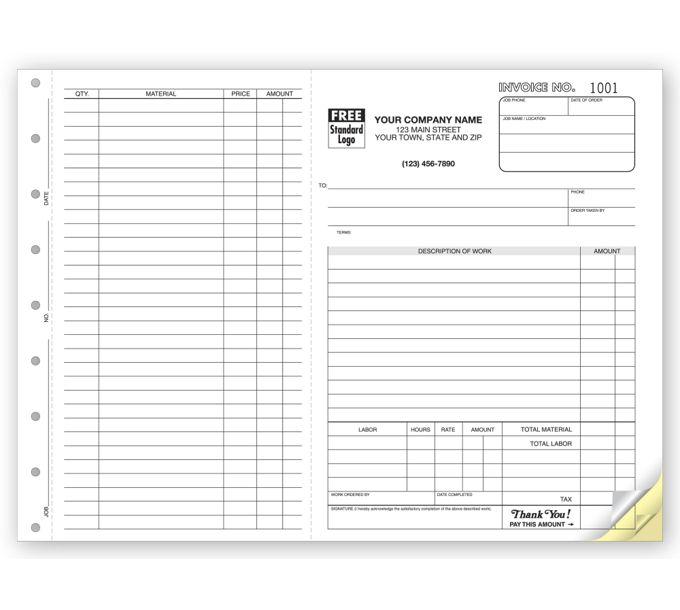 6545-Work Orders, Side-Stub, Carbonless, Large Format6545