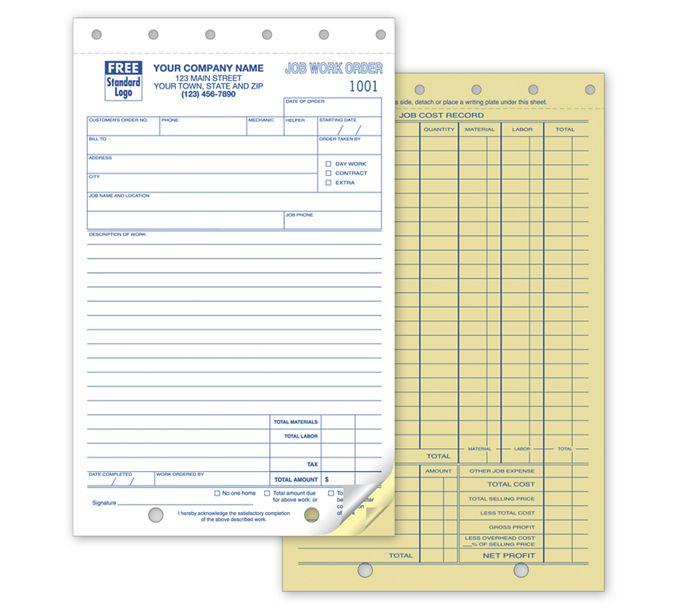 6558-Work Orders, Job, Carbonless, Small Format6558
