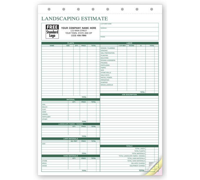 6571-Landscape Bid - Landscaping Estimate Form6571