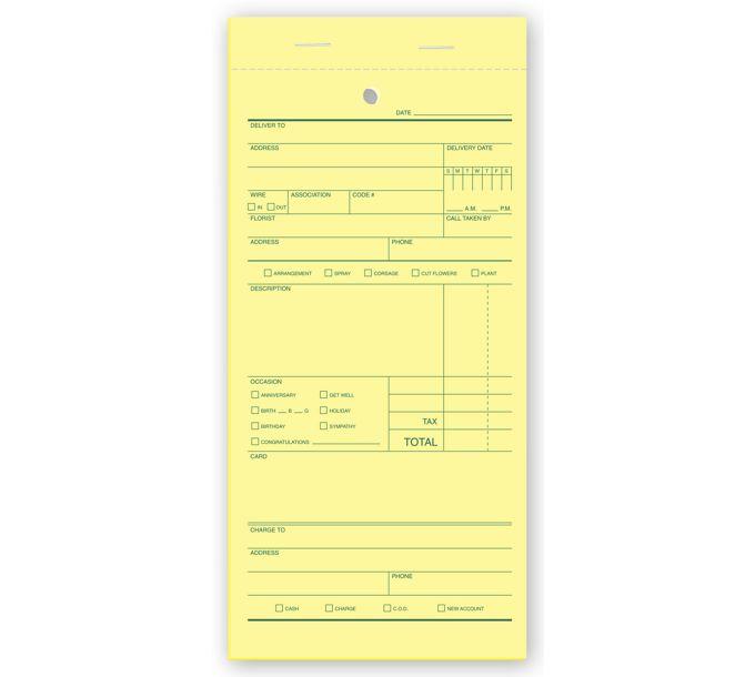 Florist Sales Order Forms, Padded671