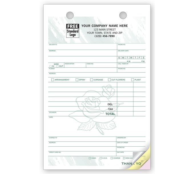 Register Forms -  Large Forms for Florists672T