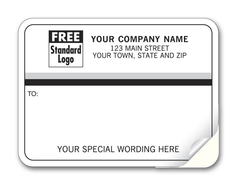 Business Labels - Padded White with Black & Gray Stripes